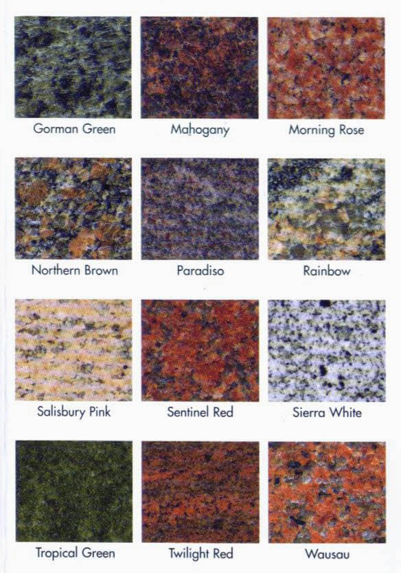 Our selection of granite colors available