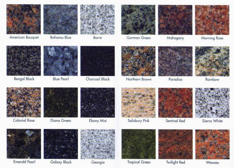 Granite Color Chart Granite Countertops Granite And